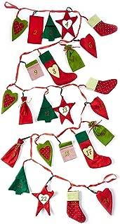 Heitmann - Calendario de Adviento decorativo para llenar y colgar - Calendario de Adviento de fieltro - Motivos navideños - Rojo, verde