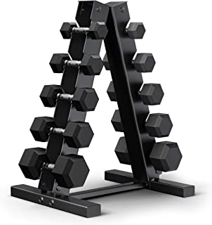 Epic Fitness 150-Pound Premium Hex Dumbbell Set with Heavy Duty A-Frame Rack