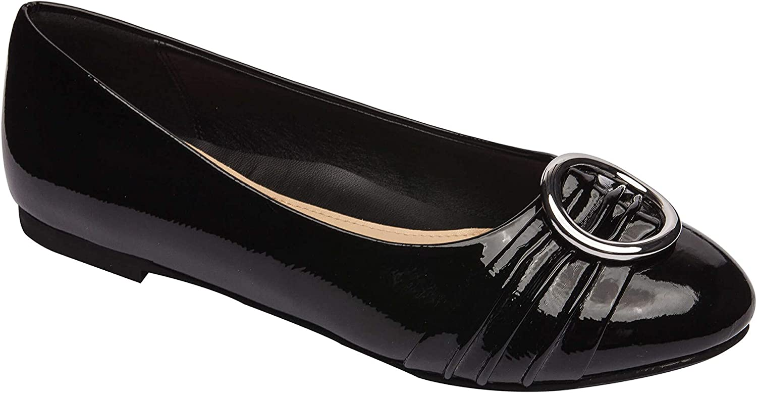 PIC PAY Kelli   Round Toe Ballet Flat Ornament Comfortable Insole Vegan Patent Padded Arch Support Black Vegan Wrinkle Patent 7.5M