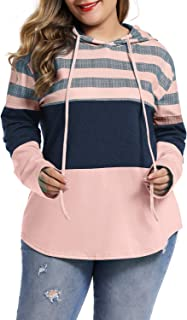 LALAGEN Womens Casual Hoodies Color Block Drawstring Plus Size Pullover Sweatshirts