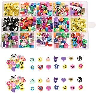 Urhause Clay Beads Set van kleikralenset DIY kralenset armbanden zelf maken 300 stuks kleurrijke smiley gezichten, vruchte...