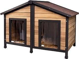 comprar comparacion ELIGHTRY Caseta de Perros para Exterior Casa para Perros Madera Jaula para 2 Perros Gatos Animales pequeños para Jardin Im...