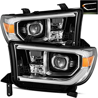 AlphaRex For 07-13 Toyota Tundra/08-17 Sequoia Polished Black TRD-PRO look Projector Headlights Left/Right Replacement Assembly