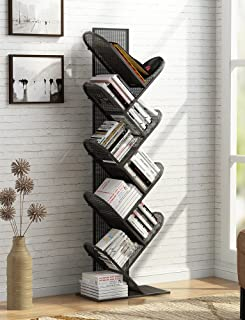 Tribesigns 8-Shelf Tree Bookshelf, Metal Bookcase Small Book Rack Compact Storage Organizer for CD, Books, Small Space (Black-Grid)
