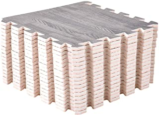 Mocosy 30 x 30 x 1cm Interlocking Floor Mats Wood Grain Mats Exercise Mats, Puzzle Floor Tiles Protective Flooring Mat