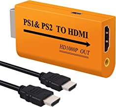 LiNKFOR PS1 & PS2 to HDMI Converter Adapter, PS1& PS2 to HDMI Converter with 3.5mm Headphone Audio Jack with 3 Feet HDMI Cable for PS1 PS2 HDTV HDMI Monitor