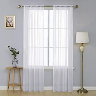 Deconovo White Sheer Curtains 90 Inch Length-Rod Pocket Voile Drape Curtains for Bedroom 2 Panels 38x90 Inch