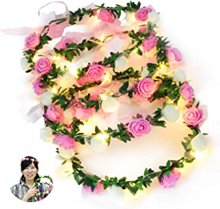 Novelty Place 4 Pack Light Up Flower Headband - LED Floral Head Crown for Wedding, Festival and Party - 4 Pieces
