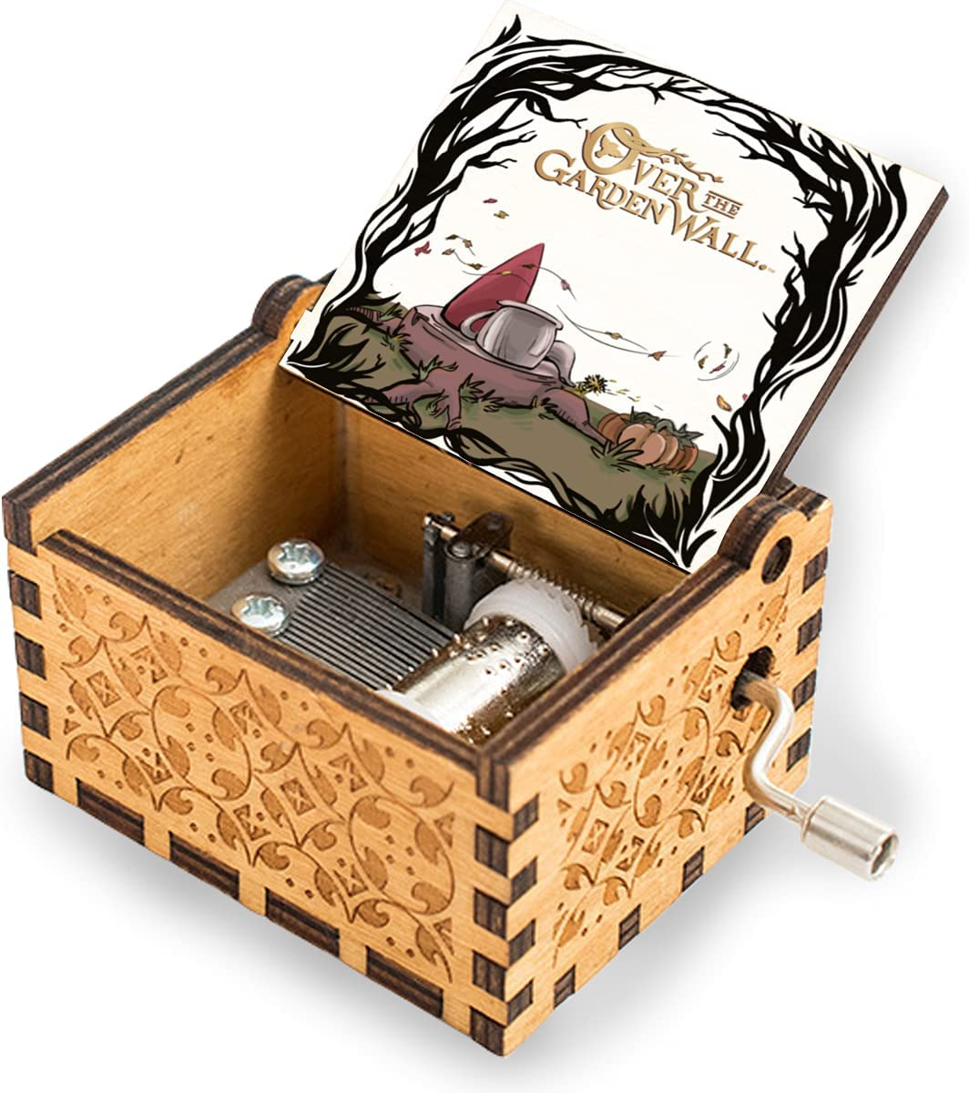 niaoyun-Over The Garden Wall-Wood/Wooden Music Box to My Love for Boyfriend Girlfriend Hand Crank Engraved Musical Box