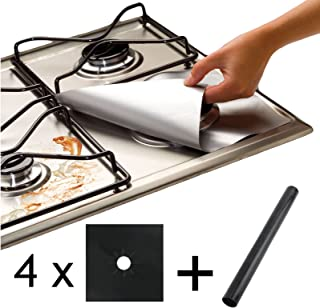 Spares2go Universal Heavy Duty Oven Liner & Gas Hob Protector Sheets (Pack Of 4 Black Sheets + 1 x Liner)