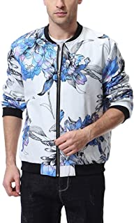 ae52f889d23 Men s Baseball Bomber Jacket Floral Flower Print Lightweight Varsity White  Coat