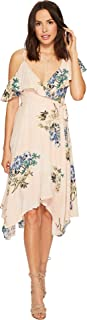 ASTR the label Women's Yessenia Asymmetrical Ruffle Top Floral Wrap Dress,Blush Multi