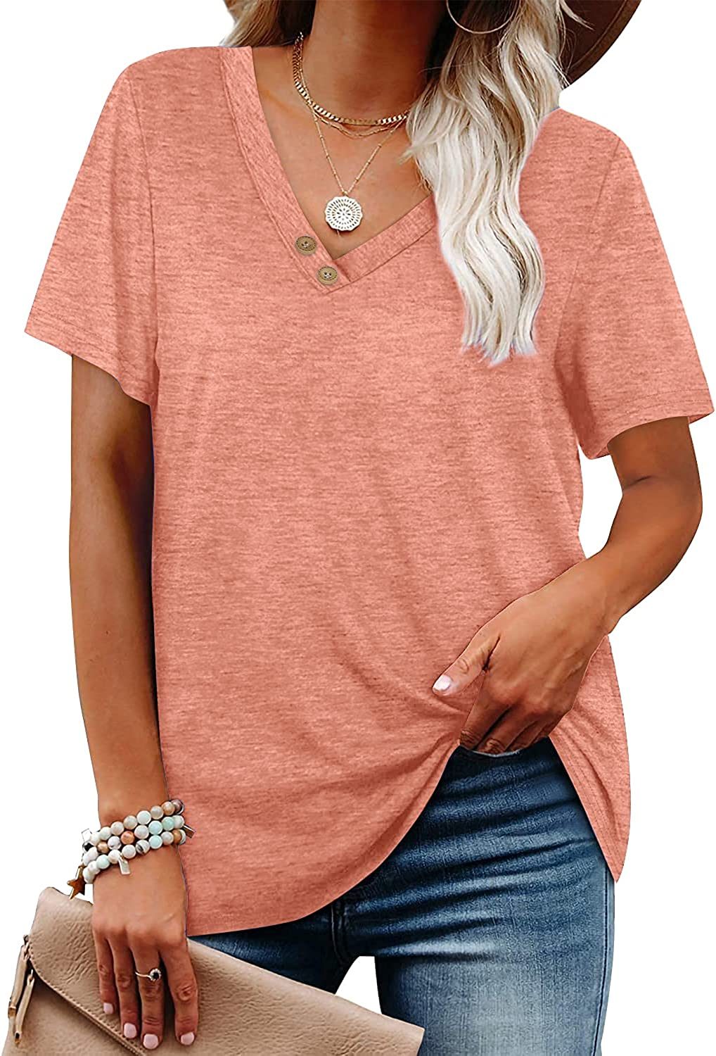 Womens Casual Tunic Tops V Neck Short Sleeve Blouses Button Basic Loose Fitting Long Shirts