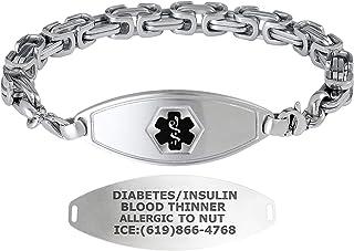 Divoti Custom Engraved Medical Alert Bracelets for Men, Stainless Steel Medical Bracelet, Medical ID Bracelet w/Free Engraving – Matte Steel Tag w/Cubic Byzantine – Color/Size