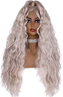 EEWIGS 13x4 Synthetic Lace Front Wig Cosplay Hair Long Gray White Loose Wave Wigs for Women
