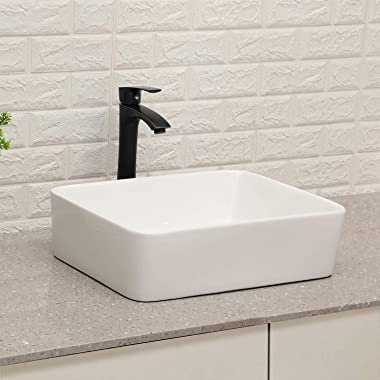 """Vessel Sink with Faucet Combo - Lordear 19""""x15"""" White Ceramic Porcelain Bathroom Sink Above Counter with Matte Black"""