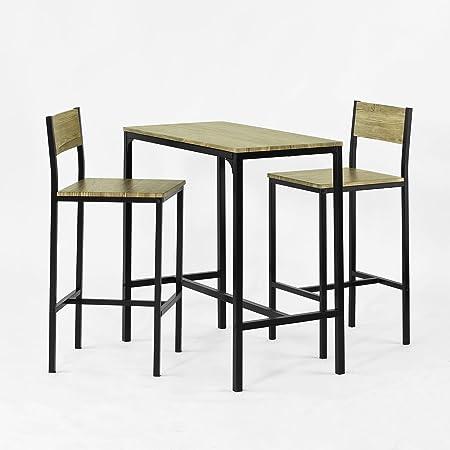 SoBuy® OGT03-N Ensemble table de bar + 2 chaises, Set de 1 Table + 2 Chaises, Table haute cuisine