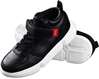 School uniform Sneakers Running Shoes for Boys Girls low and Hi Top black and white shoes for little kid (4-8yrs) MONSPRIN
