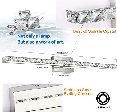 SOLFART Dimmable Crystal 40 Inches Long Bathroom Vanity Lights Fixtures Over Mirror Wall Lights
