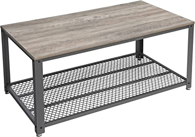VASAGLE BRYCE Coffee Table with Storage Shelf for Living Room, Industrial Accent Furniture with Steel Frame, Easy Assembly, 41.8 x 23.7 x 17.7 Inches, Greige and Black