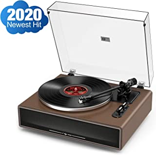 1byone [2020 Newest Hit] High Fidelity Belt Drive Turntable with Built-in Speakers, Vinyl Record Player with Magnetic Cartridge, Bluetooth and Aux-in Functionality, Natural Wood