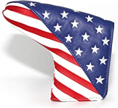Red Blue White USA Flag Golf Blade Putter Cover Headcover Club Protective Magnetic Thick Synthetic Leather for Odyssey White Hot Pro 2 Scotty Cameron & Crown Newport,Select Newport