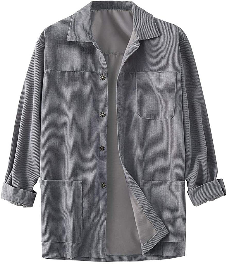 F/_Gotal Mens Long Sleeve Thick Zip Up Corduroy Shirt Casual Button Down Jackets Tops Blouse Pullover Jumper Sweatshirts