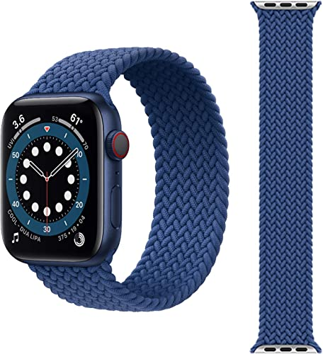 Max Pro Solo Loop Strap Compatible with Apple Watch Band Stretchy Sport Women Men Replacement Wristband for iWatch Series 6 SE 5 4 3 2 1 Blue 42mm 44mm
