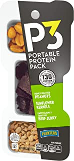 P3 With Honey Roasted Peanuts, Sweet & Spicy Teriyaki Beef Jerky & Sunflower Kernels Portable Protein Pack (1.8 oz Trays, Pack of 6)