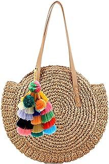 Abuyall Women Round Straw Shoulder Bag Weave Summer Beach Top Handle Handbag