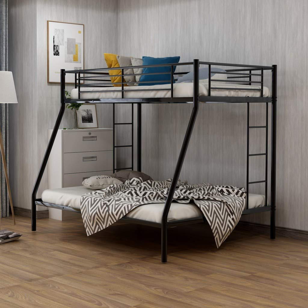 Metal Twin Over Full Bunk Beds Kids Bunk Beds Twin Over Full Size With Built In Ladders And Guard Rail Black Bunk Bed Buy Online In Bahamas At Bahamas Desertcart Com Productid 180732159