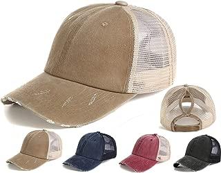 YIBOBA Ponytail Baseball Cap Retro, Messy Visor Dad Hat Ponycaps Adjustable Cotton and Twill Mesh Trucker Caps