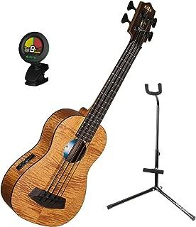 Kala U BASS EM FS Exotic Mahogany U Bass Short-scale Acoustic-Electric Bass Ukulele with Tuner and Ukulele Stand