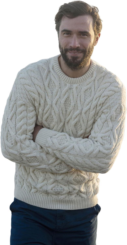 Carraig Donn Irish Men's Wool Crew Neck Sweater