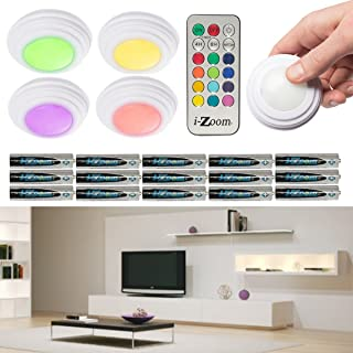 i-Zoom 5 Pack LED Accent Lights Color Changing Lights With Remote Wireless Puck Lights Battery Operated