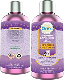 Paws4Pals All Natural Organic Pet Lavender Shampoo+Conditioner With Colloidal Oatmeal[17oz] For Dogs & Cats-Clinical Formu...