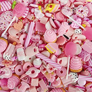 Incredible art Pieces Mixed lot Pink Food Resin Flatback cute Decoden Pieces,20pc per packet