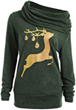 Sunmoot Women Christmas Deer Sweatshirt Turtleneck Long Sleeve Pullover Sweater