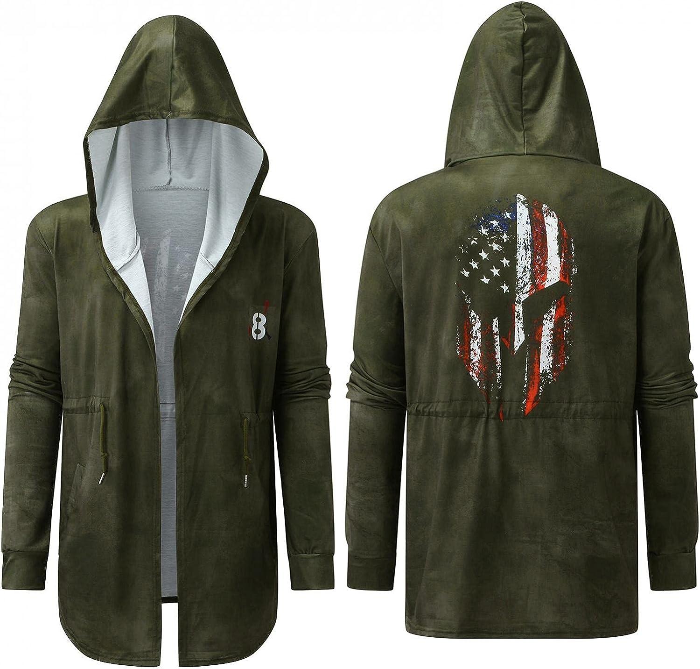 SUIQU Men's Hoodies Sweatshirts Jacket Casual Long-Sleeve Cross Print Drawstring Pocket Long Light Windproof Coat
