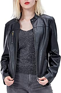 Fahsyee Women's Faux Leather Jackets, Zip Up Motorcycle Short PU Moto Biker Outwear Fitted Slim Coat