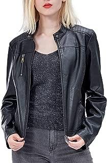 Women's Faux Leather Jackets, Zip Up Motorcycle Short PU Moto Biker Outwear Fitted Slim Coat