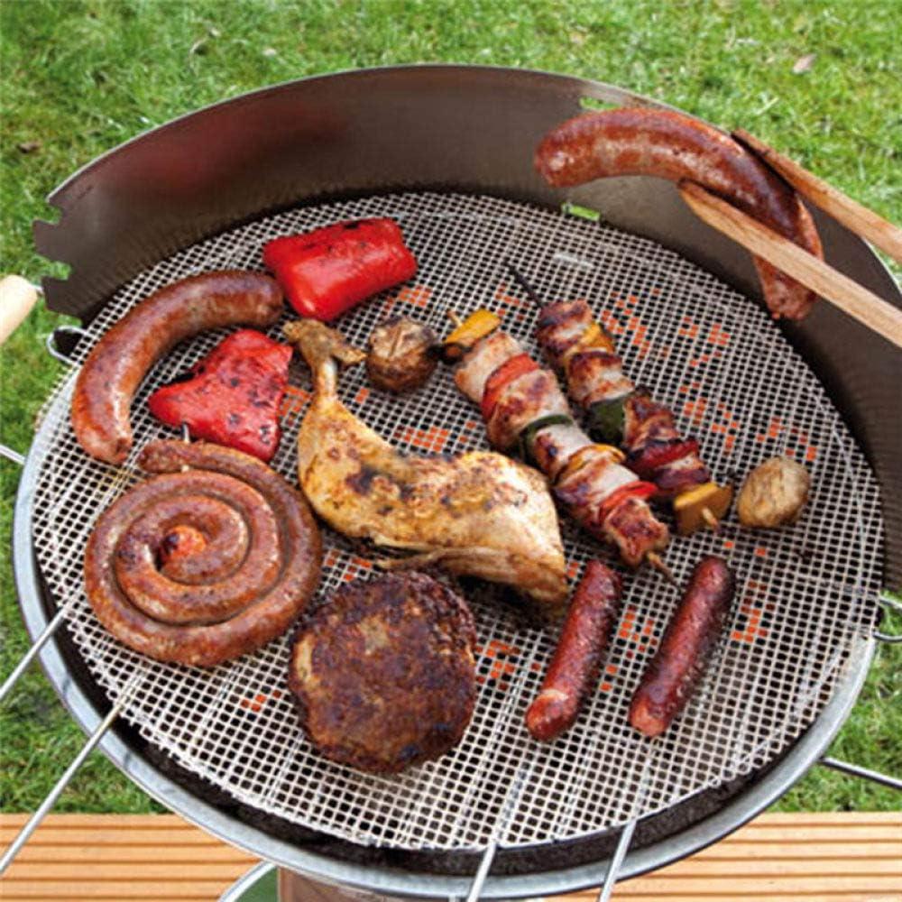 FMXKSW 2 pcs Antiadhésif en Verre Barbecue Griller Pad Fibre Barbecue Grill Grill Topper Maille Net Camping en Plein Air Pique-Niques Outils, Rectangulaire A rond