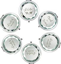 Pack of 6 Compact Pocket Makeup Mirrors - 1 Bride Makeup Mirror 1 Maid of Honor 5 Bride Tribe Makeup Mirrors and 6 Gift Bags for Bachelorette Party Bridal Shower Hen Party Bridesmaid Gifts