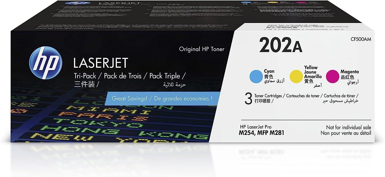 HP 202A | CF501A, CF502A, CF503A | 3 Toner-Cartridges | Cyan, Magenta, Yellow | Works with HP LaserJet Pro M254, M281cdw, M281dw, M281fdw