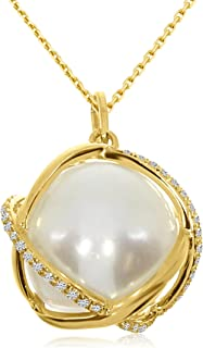 9.00 Carat (ctw) 14k Gold Round Freshwater-Cultured Pearl and Diamond Women's Caged Cris-Cross Pendant with 18