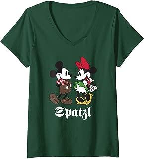 Womens Disney Mickey and Minnie Mouse Spatzl Oktoberfest V-Neck T-Shirt