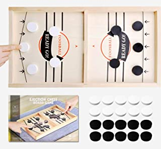Toydaze Sling Foosball Fast Sling Puck Game with Extra 10 Pucks & 2 Slingshots for Spare Use, Portable Slingpuck Board Gam...