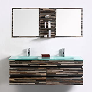 Decoraport 55 In. Wall Mount Bathroom Vanity Set With Double Glass Sink and Mirror (VS-8861)