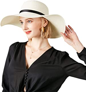 DAN SHANG Sun Hat Foldable Roll up Beach Sun Straw Hat Women's Wide Brim Straw Hat upf50+