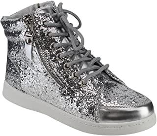 Forever Link Womens Hi Top Glitter Lace Up Ankle Booties Fitness Trainer Fashion Sneakers